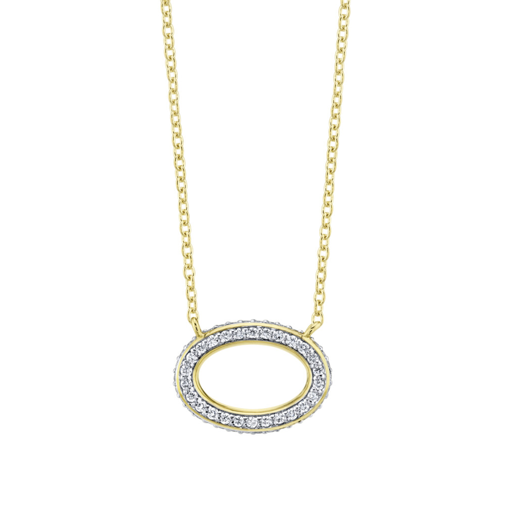 Pave Diamiond Dainty Oval Pendant