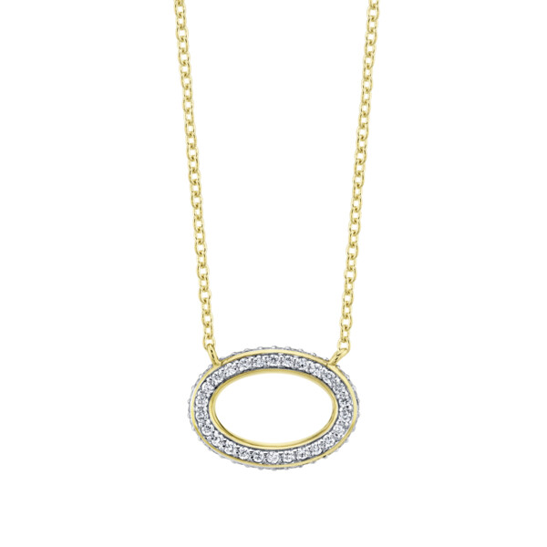 Closeup photo of Pave Diamiond Dainty Oval Pendant