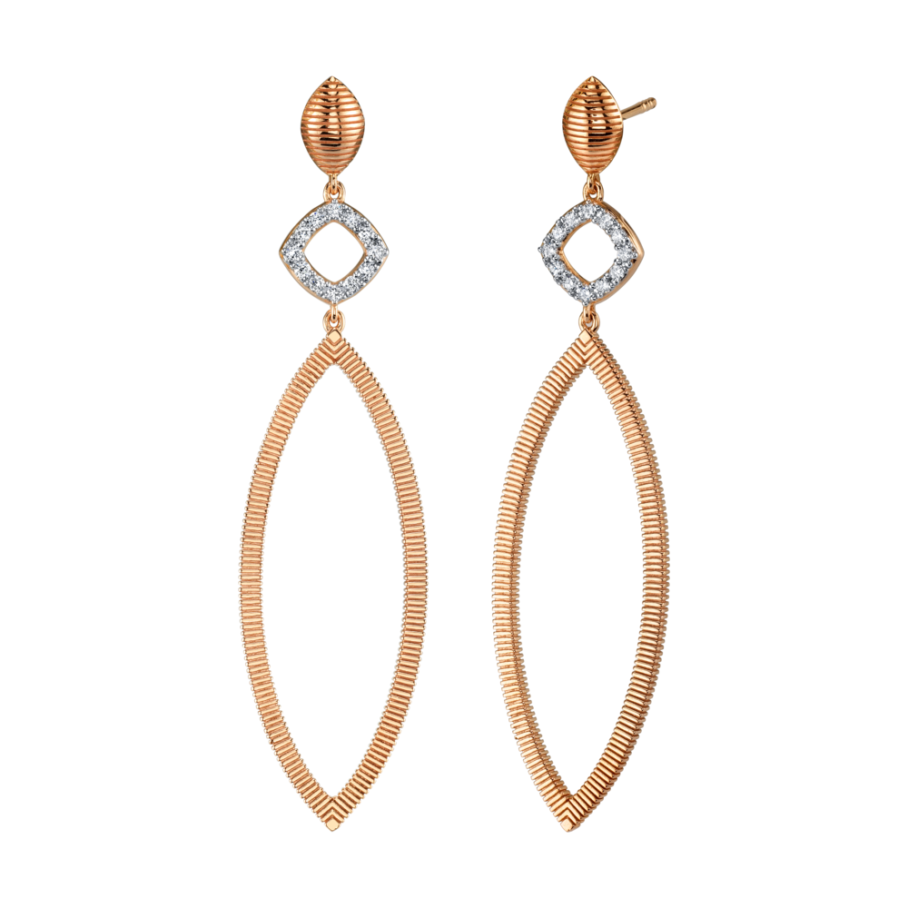 Image 2 for Diamond And Strie Large Marquise Earrings