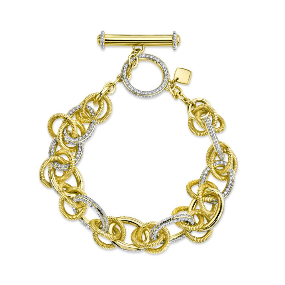 Pave Diamond And Strie Link Bracelet With Toggle
