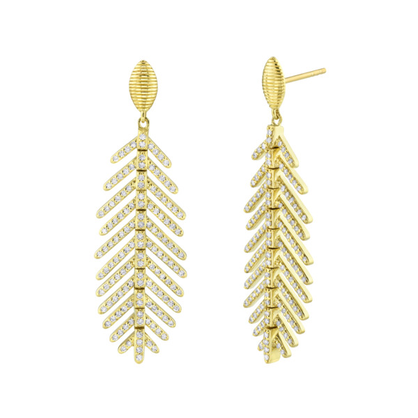 Closeup photo of Pave Diamond Feather Earrings