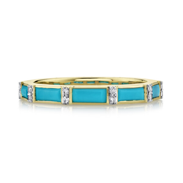 Closeup photo of Turquoise Baguette Ring With Diamonds