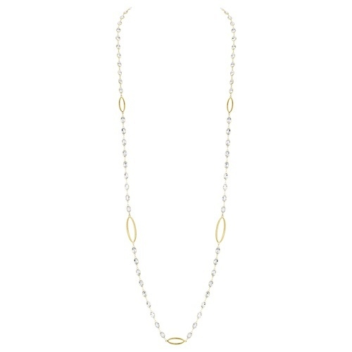 Closeup photo of White Topaz Chain With Marquis Stations