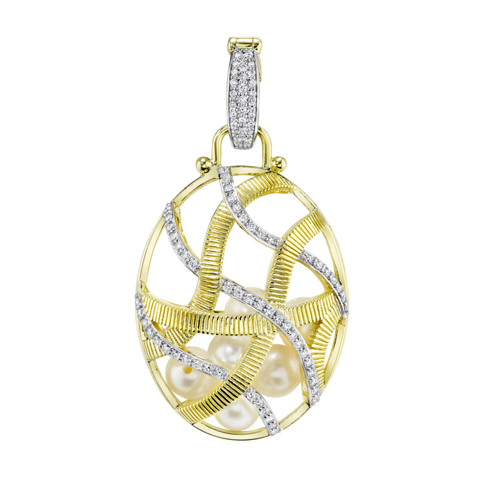 Large Diamond Cage Pendant Filled With Seed Pearls