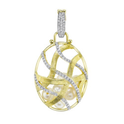 Closeup photo of Large Diamond Cage Pendant Filled With Seed Pearls
