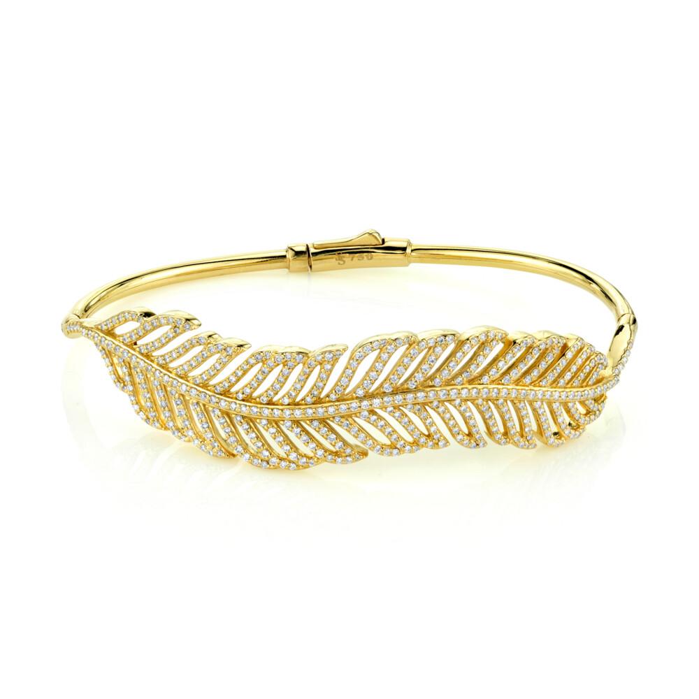 Pave Diamond Feather Bangle
