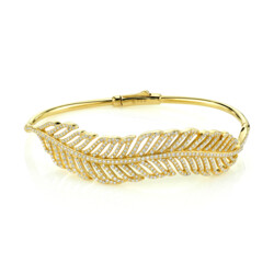 Closeup photo of Pave Diamond Feather Bangle