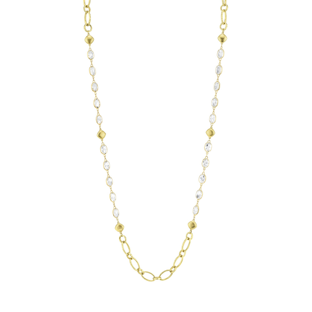 White Topaz Chain With Gold Link Stations