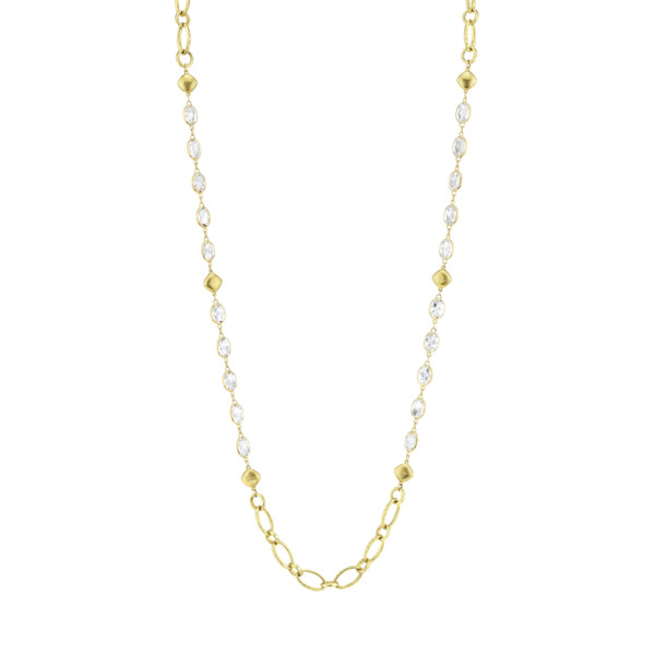 Closeup photo of White Topaz Chain With Gold Link Stations