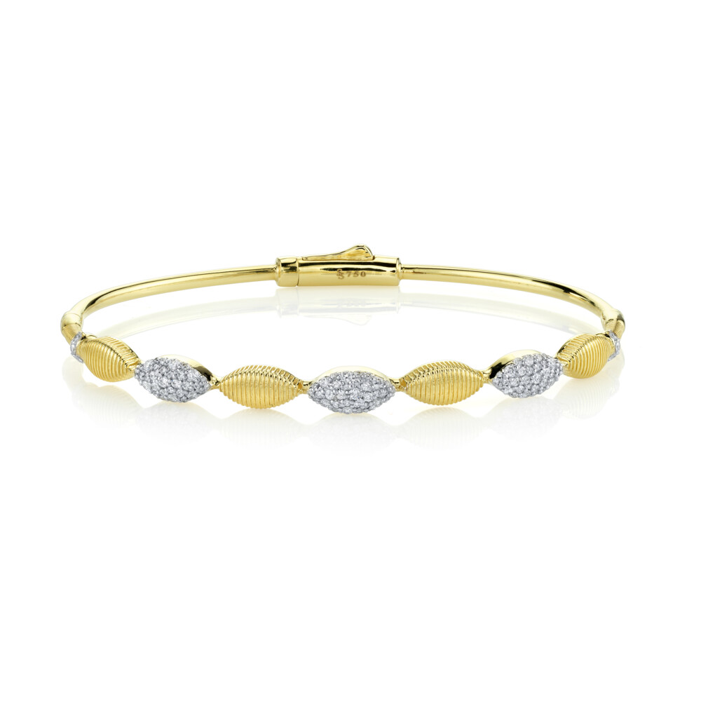 Image 2 for Pave Diamond And Strie Marquise Bangle