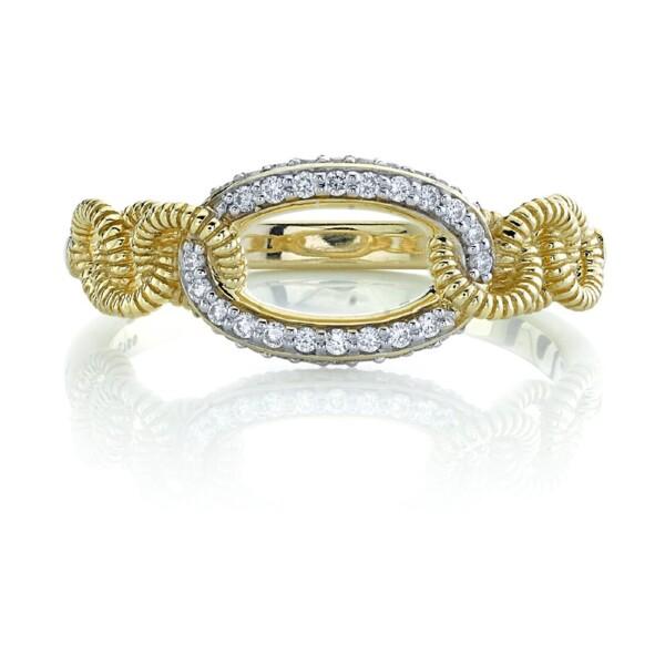 Closeup photo of Pave Diamond Link Ring