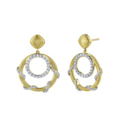 Closeup photo of Diamond Open Wrap Drop Earrings