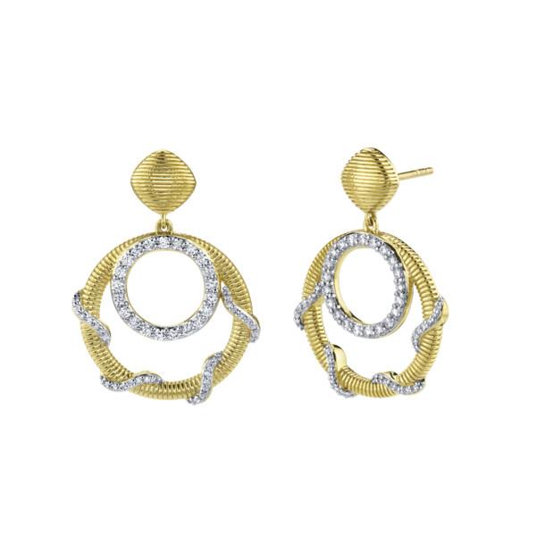 Closeup photo of Diamond Open Wrap Drop Earrings