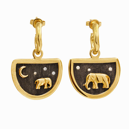 Closeup photo of Elephant Earring Charms and Hoops