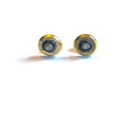 Closeup photo of Raw Diamond Circle Studs