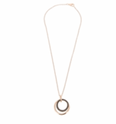 Closeup photo of Small Polvere Di Sogni Circle Wave Pendant Necklace - Rose Gold & Dark Brown Dust
