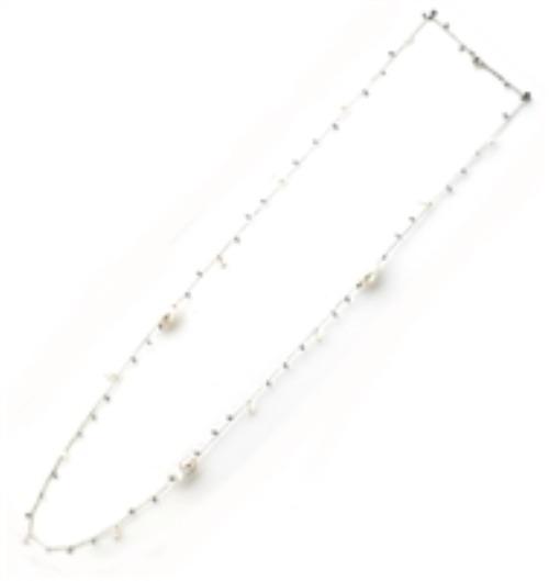 Closeup photo of DNA Shine Single Strand Necklace w/Hematite & Pearls - Rhodium