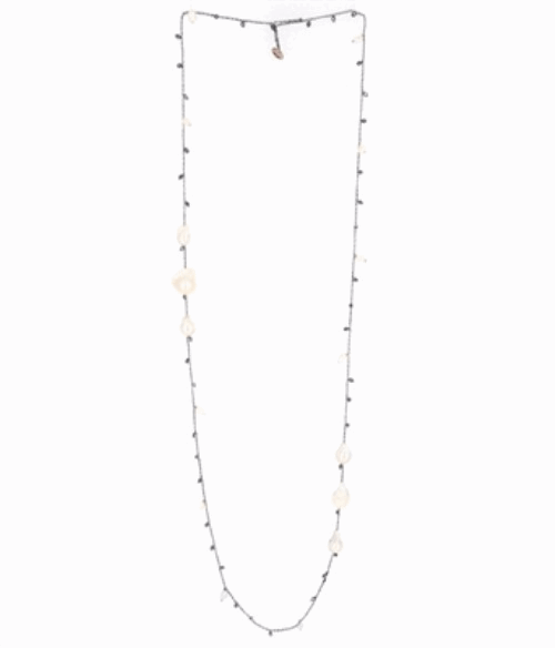 DNA Shine Single Strand Necklace w/Hematite & Tri Pearl Stations - Ruthenium