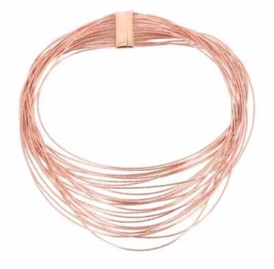 Closeup photo of DNA Spring Wide Necklace - Rose Gold