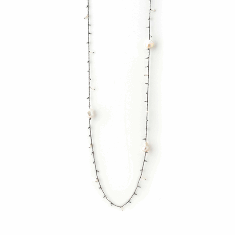 DNA Shine Single Strand Necklace w/Hematite & Pearls - Ruthenium