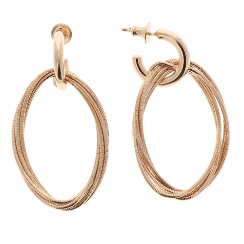 DNA Spring Small Oval Earrings - Rose Gold