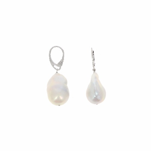 Closeup photo of DNA Shine Baroque Pearl Earrings - Rhodium