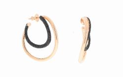 Closeup photo of 2-Tone Wave Polvere Earrings - Rose Gold Black Polvere