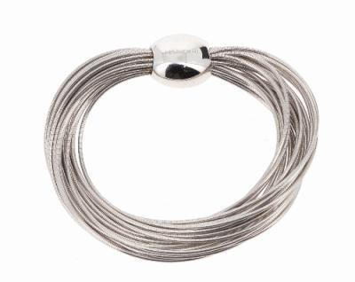 Closeup photo of DNA Spring Bracelet w/Bead Clasp - Rhodium