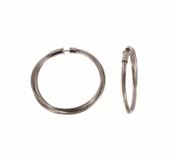 Closeup photo of DNA Spring Medium Hoop Earrings - Ruthenium