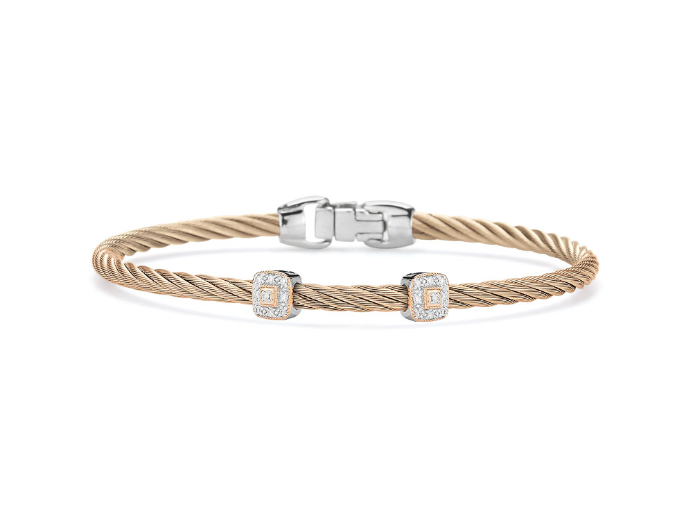 Carnation Two Squared Station Bangle