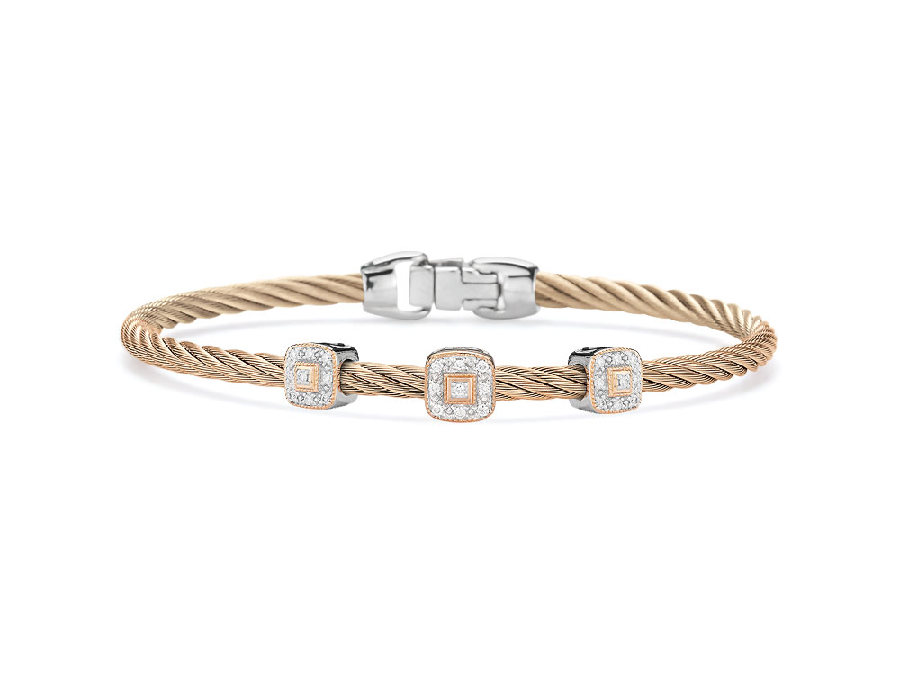 Carnation Three Squared Station Bangle