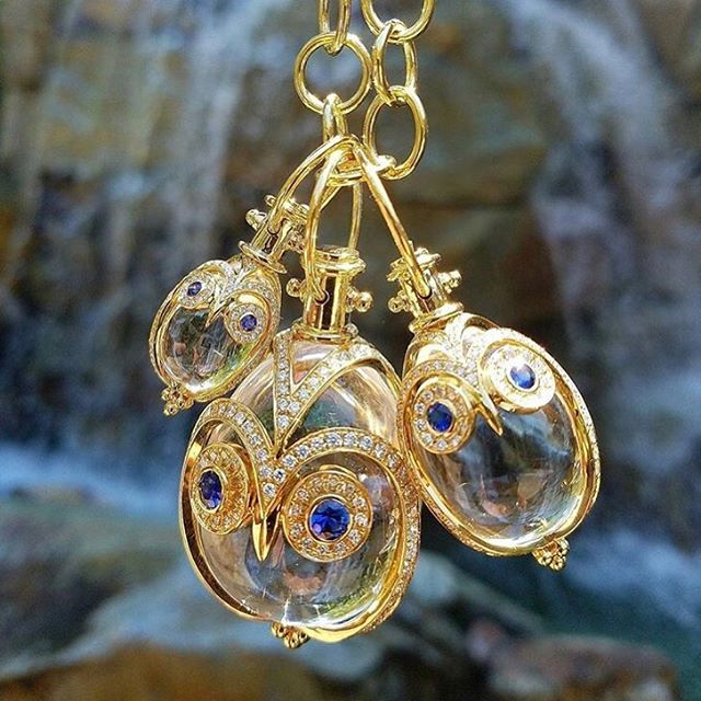 Image 2 for Small 18K Owl Amulet with blue sapphire and diamond pave