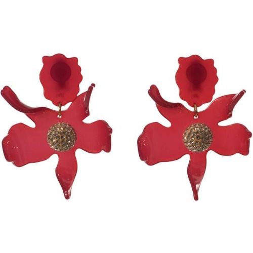 Closeup photo of Crystal Lily Earrings - Raspberry
