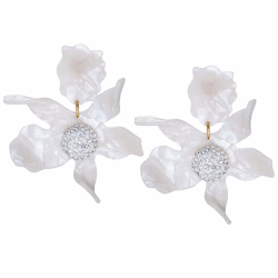 Closeup photo of Crystal Lily Earrings - White