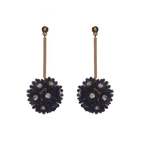 PLUMERIA FLOWER DROP EARRINGS - black