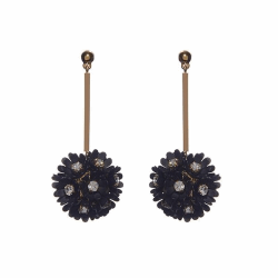 Closeup photo of PLUMERIA FLOWER DROP EARRINGS - black
