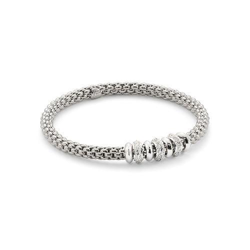 18k Gold Stretch Fope Bracelet With Diamonds