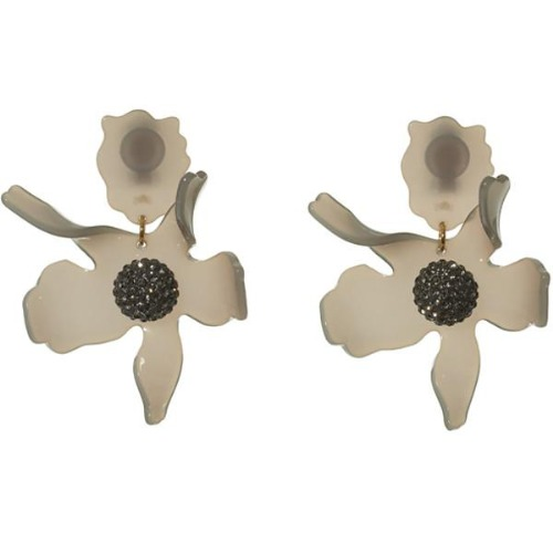 Closeup photo of CRYSTAL LILY EARRINGS - charcoal