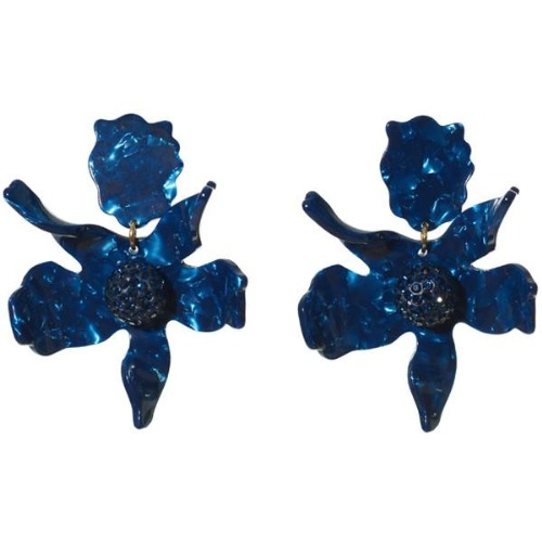 Closeup photo of CRYSTAL LILY EARRING - navy