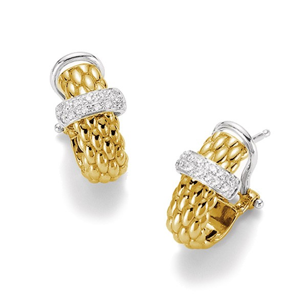Closeup photo of 18k Gold Vendome Earrings with Diamonds OR560 BBR