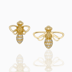 Closeup photo of 18k Bee Studs