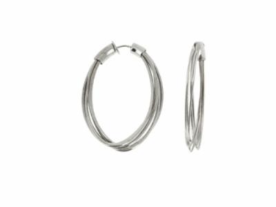 Closeup photo of DNA Spring Small Oblong Hoop - Ruthenium
