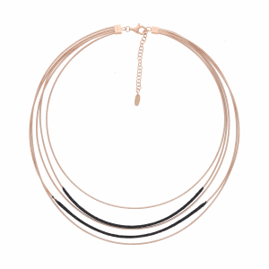 Closeup photo of DNA Spring Necklace with Polvere - Rose Gold and Black Polvere