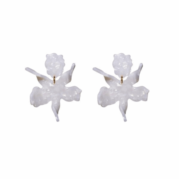 Closeup photo of Small Paper Lily Earrings - Mother Of Pearl
