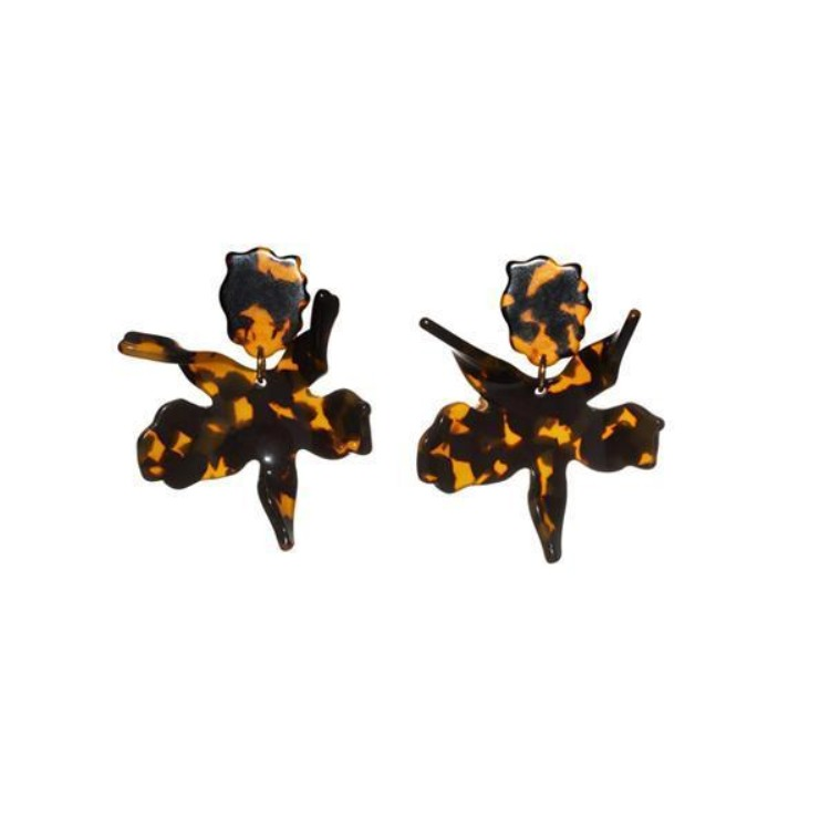 Small Paper Lily Earrings - Tortoise