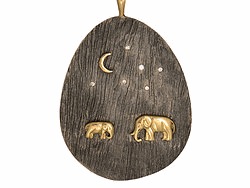 Silver Mama And Baby Tsavo Nights Pendant