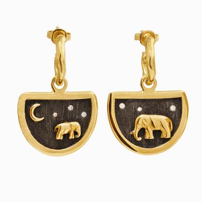 Elephant Earring Charms and Hoops