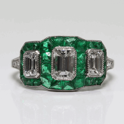 View image 3 for Platinum Diamond and Emerald Ring