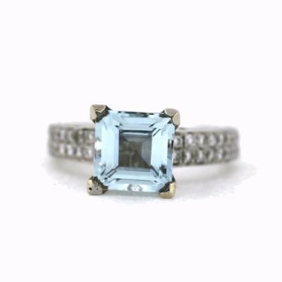 Aquamarine Princess Cut and Diamond Ring