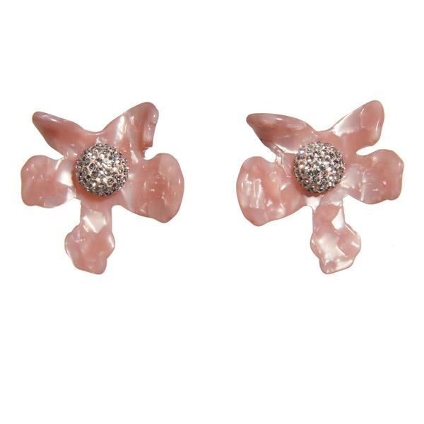 Crystal Lily Button Earrings Peach